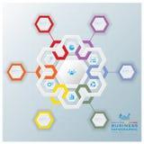 Modernes Hexagon-Geschäft Infographic Stockbild