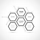 Modernes Hexagonwebdesign lokalisiert auf weißem Hintergrund Stockfoto