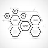 Modernes Hexagonwebdesign lokalisiert auf weißem Hintergrund Stockbild