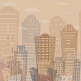 Modernes Immobilien-Gebäudedesign des nahtlosen Musters Städtische Landschaft Vektor Stockbilder