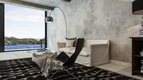Modernes, industrielles Penthauswohnzimmer mit Ansicht stockfotografie