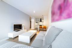 Modernes Innenarchitekturwohnzimmer und -küche Lizenzfreie Stockbilder