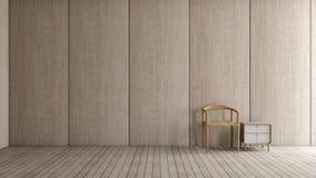 Modernes Innendachbodenwohnzimmer mit hölzerner Wand des Stuhlholzfußboden-Lichtes für Wiedergabe des Modells 3d stock abbildung