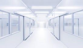 Modernes Innenwissenschaftslabor mit Beleuchtung vom Zugang stockbild