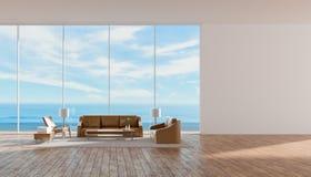 Modernes Innenwohnzimmerholzfußbodensofa stellte Wiedergabe des Seeansichtsommers 3d ein stock abbildung