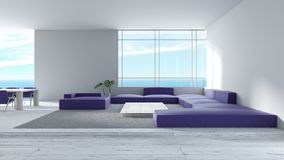 Modernes Innenwohnzimmerholzfußbodensofa stellte Wiedergabe des Seeansichtsommers 3d ein Sofasatz-Farbe-tre des minimalen Wohnzim lizenzfreie abbildung