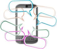 Modernes intelligentes Mobiltelefon. Senden der SMS Meldungen Stockfotografie