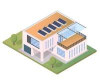 Modernes isometrisches grünes freundliches Luxushaus Eco mit Sonnenkollektor Stockfotos