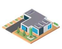 Modernes isometrisches grünes freundliches Luxushaus Eco mit Sonnenkollektor Stockbild