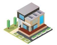 Modernes isometrisches grünes freundliches Luxushaus Eco mit Sonnenkollektor Lizenzfreies Stockfoto