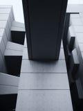 Modernes konkretes geometrisches Gebäude mit Platten Stockfotos