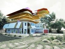 Modernes Konzept von Bauarbeiten das Haus wird durch p zusammengebaut Lizenzfreie Stockbilder