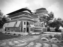 Modernes Konzept von Bauarbeiten das Haus wird durch p zusammengebaut Stockfoto