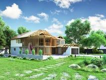 Modernes Konzept von Bauarbeiten das Haus wird durch p zusammengebaut Lizenzfreie Stockfotos