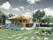 Modernes Konzept von Bauarbeiten das Haus wird durch p zusammengebaut Lizenzfreies Stockbild