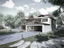 Modernes Konzept von Bauarbeiten das Haus wird durch p zusammengebaut Stockfotografie