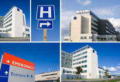 Modernes Krankenhausnotzeichen und -gebäude Stockfoto