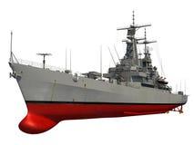 Modernes Kriegsschiff über weißem Hintergrund Stockbild