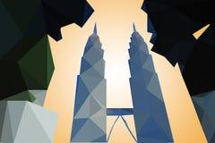 Modernes Kuala Lumpur City Skyline-Polygon Design Stockfotos
