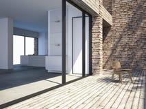 Modernes Landhaus durch das Meer Lizenzfreie Stockfotos