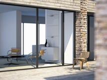 Modernes Landhaus durch das Meer lizenzfreie abbildung