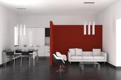 Modernes lebendes und Esszimmer mit Küche Lizenzfreie Stockbilder