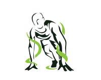 Modernes leidenschaftliches Läufer-Schattenbild im Aktions-Logo Lizenzfreies Stockfoto