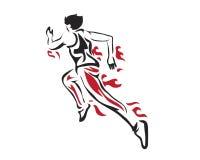 Modernes leidenschaftliches Läufer-Schattenbild im Aktions-Logo Stockfotografie