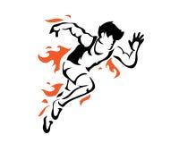 Modernes leidenschaftliches Läufer-Schattenbild im Aktions-Logo Lizenzfreie Stockfotos