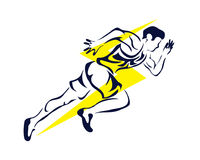 Modernes leidenschaftliches Läufer-Schattenbild im Aktions-Logo Lizenzfreie Stockbilder