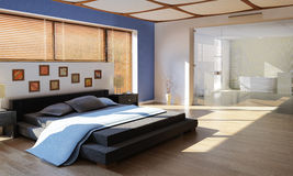 Modernes Luxusschlafzimmer mit Badezimmer Stockbild