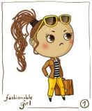 Modernes Mädchen lokalisiert auf weißem Hintergrund Lizenzfreie Stockbilder