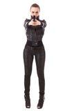 Modernes Mädchen mit einer Gewehr lizenzfreie stockbilder