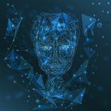 Modernes Männerbildnis der Technologie, glühendes polygonales Gitter, Verbindungsdreiecknetz, Technologiekonzept Stockbild