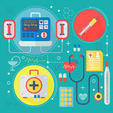 Modernes Medizin- und Gesundheitswesenservice-Ebenenkonzept Medizinisches Apothekentechnologiediagnosen-infographics Design, Netz Stockfotos