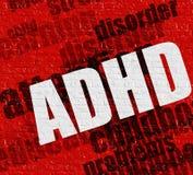 Modernes Medizinkonzept: ADHD auf der roten Wand Lizenzfreie Stockfotografie