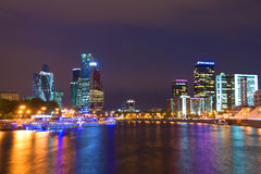 Modernes Moskau, September-Nacht, Russland Stockfotografie
