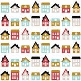 Modernes nahtloses kindisches Muster mit netten Häusern in der skandinavischen Art Scherzt Stadtbeschaffenheit für Druck stock abbildung