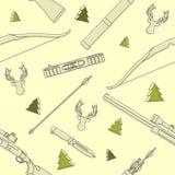 Modernes nahtloses lineares Muster mit Rotwildköpfen, Ausrüstung und Waffen auf gelbem Hintergrund jagend Auch im corel abgehoben Stockfotografie