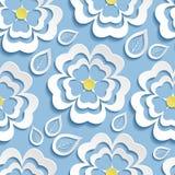 Modernes nahtloses Muster mit 3d blüht Kirschblüte und verlässt Stockfoto