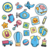 Modernes nettes Retro- Baby 80s-90s lokalisierte Mode-Karikatur-Illustrations-Satz Stockfoto