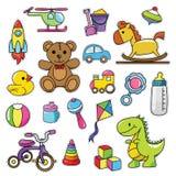 Modernes nettes Retro- Baby 80s-90s lokalisierte Mode-Karikatur-Illustrations-Satz Stockbild