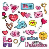 Modernes nettes 80s-90s lokalisierte Valentine Fashion Patch Cartoon Illustrations-Satz lizenzfreie abbildung