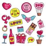 Modernes nettes 80s-90s lokalisierte Valentine Fashion Patch Cartoon Illustrations-Satz vektor abbildung