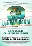 Modernes Plakat für ein akustisches Konzert der Gitarre oder ein Rockfestival Stockfoto
