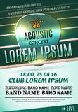 Modernes Plakat für ein akustisches Konzert oder ein Rockfestival Lizenzfreie Stockfotografie
