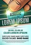 Modernes Plakat für ein akustisches Konzert oder ein Rockfestival Lizenzfreies Stockfoto