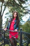 Modernes Porträt des Herbstes des roten Lippenstifts des jungen glücklichen Brunettemädchens draußen in der Stadt Lizenzfreie Stockfotografie