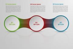 Modernes roudned drei Schritte infographics Stockbild