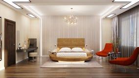 Schlafzimmer Mit Einem Runden Bett Stock Abbildung - Illustration ...